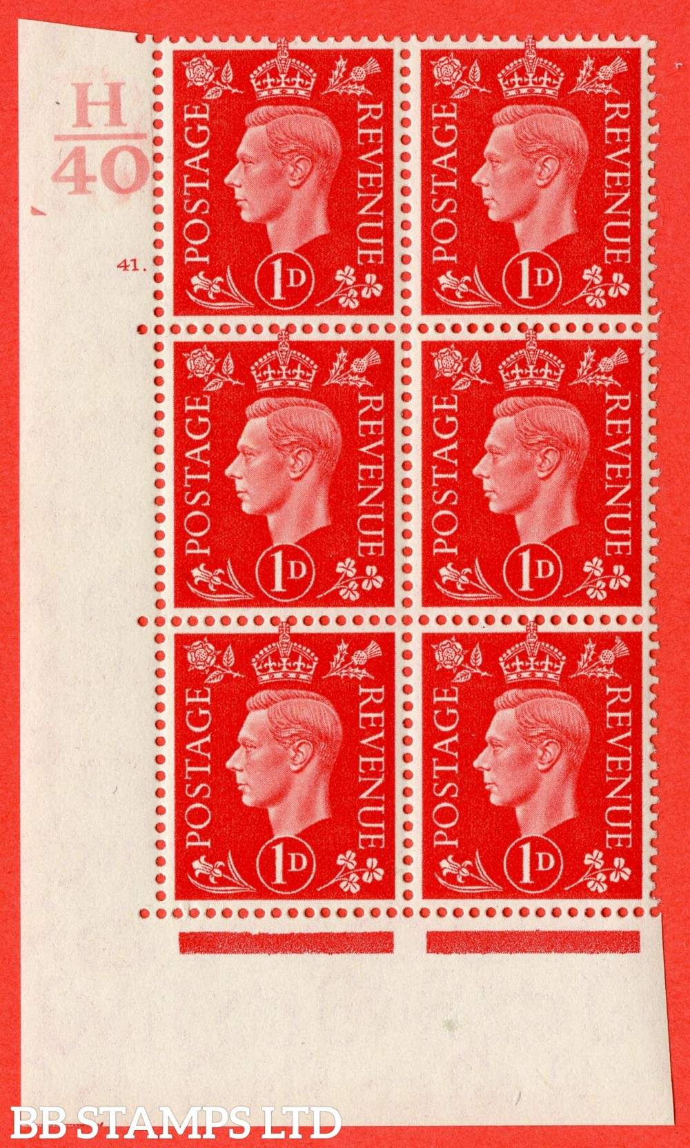"SG. 463. Q4. 1d Scarlet. A superb UNMOUNTED MINT "" Control H40 cylinder 41 dot "" block of 6 with perf type 5 E/I."