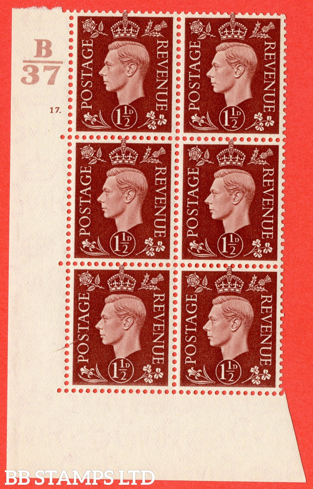 "SG. 464. Q7. 1½d Red-Brown. A superb UNMOUNTED MINT  "" Control B37 cylinder 17 dot "" block of 6 with perf type 5 E/I."