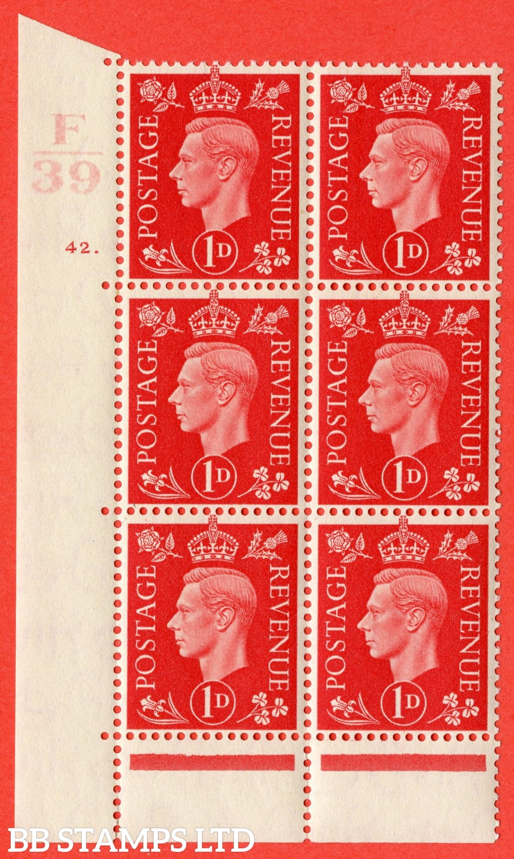 "SG. 463. Q4. 1d Scarlet. A superb UNMOUNTED MINT "" Control F39 cylinder 42 dot "" block of 6 with perf type 6B E/P."