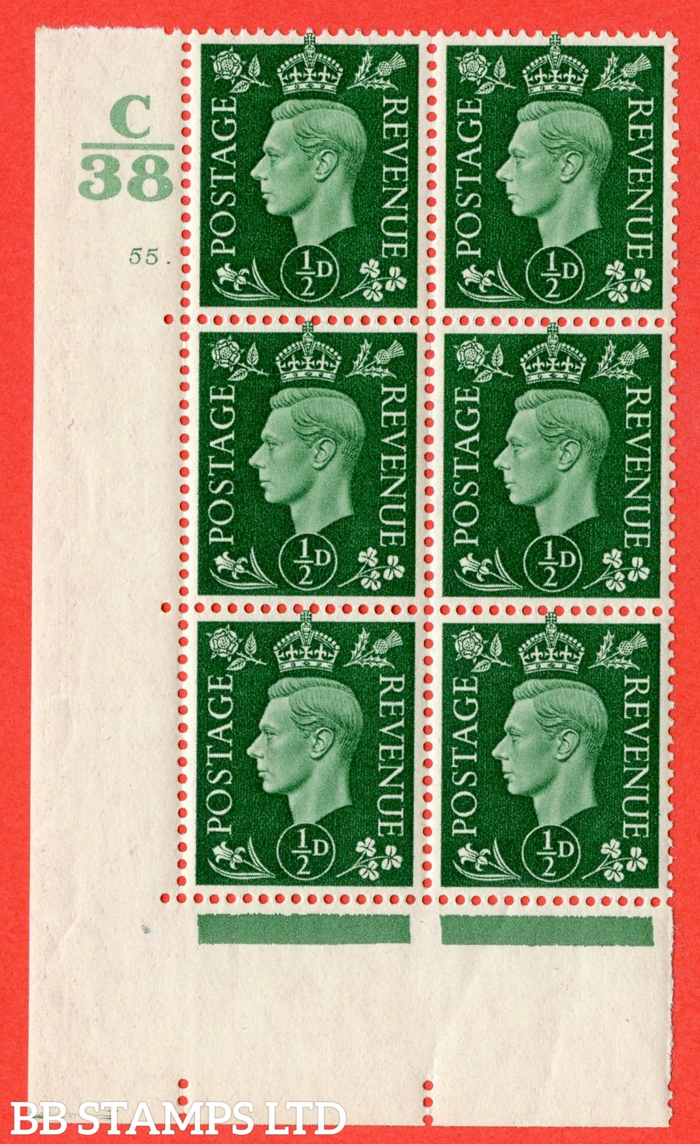 """SG. 462. Q1. ½d Green. A superb UNMOUNTED MINT """" Control C38 cylinder 55 dot """" block of 6 with perf type 5 E/I."""