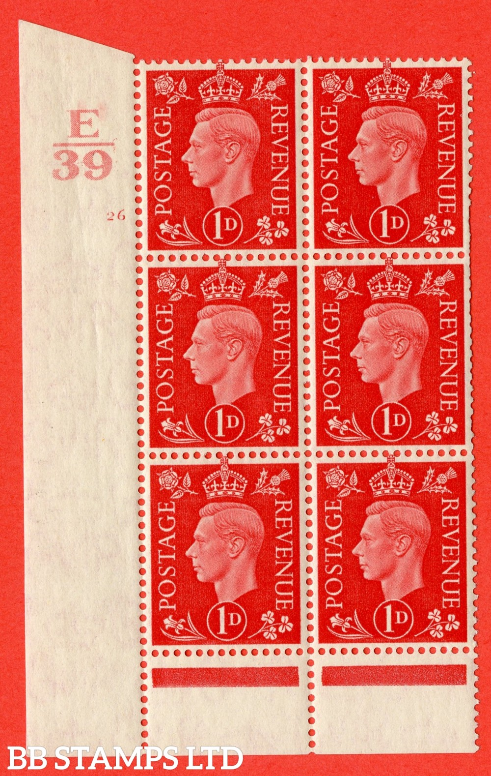 "SG. 463. Q4. 1d Scarlet. A superb UNMOUNTED MINT "" Control E39 cylinder 26 no dot "" block of 6 with perf type 6 I/P with marginal rule."
