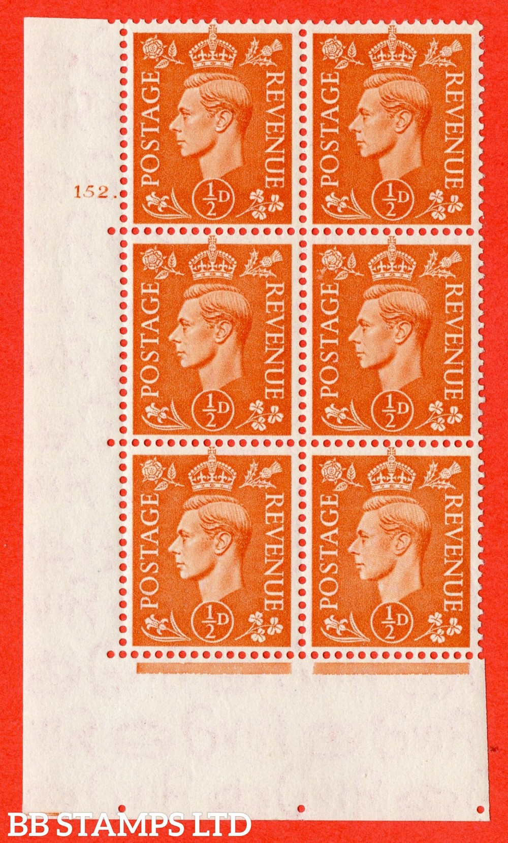 """SG. 503. Q3. ½d Pale Orange. A superb UNMOUNTED MINT """" No Control cylinder 152 dot """" control block of 6 with perf type 5 E/I."""