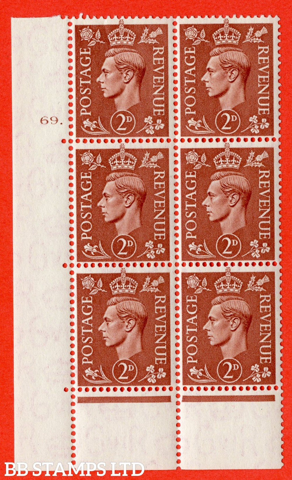 "SG. 506. Q12. 2d Pale Red-Brown. A superb UNMOUNTED MINT "" No Control cylinder 69 dot "" control block of 6 with perf type 6B E/P."