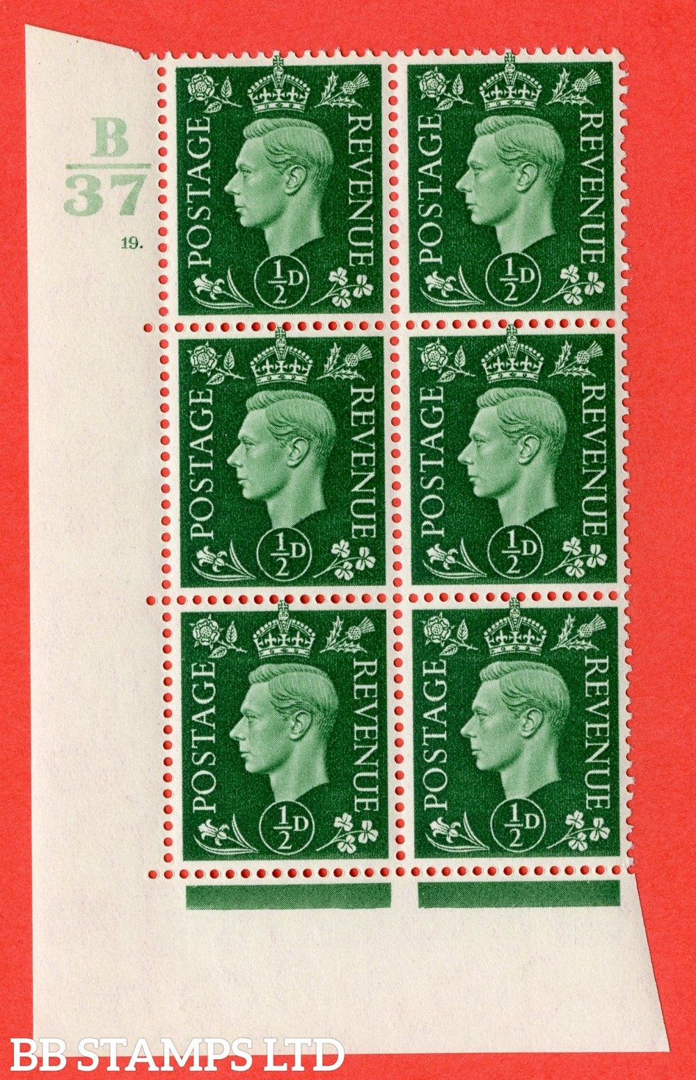"SG. 462. Q1. ½d Green. A superb UNMOUNTED MINT "" Control B37 cylinder 19 dot "" block of 6 with perf type 5 E/I with marginal rule."