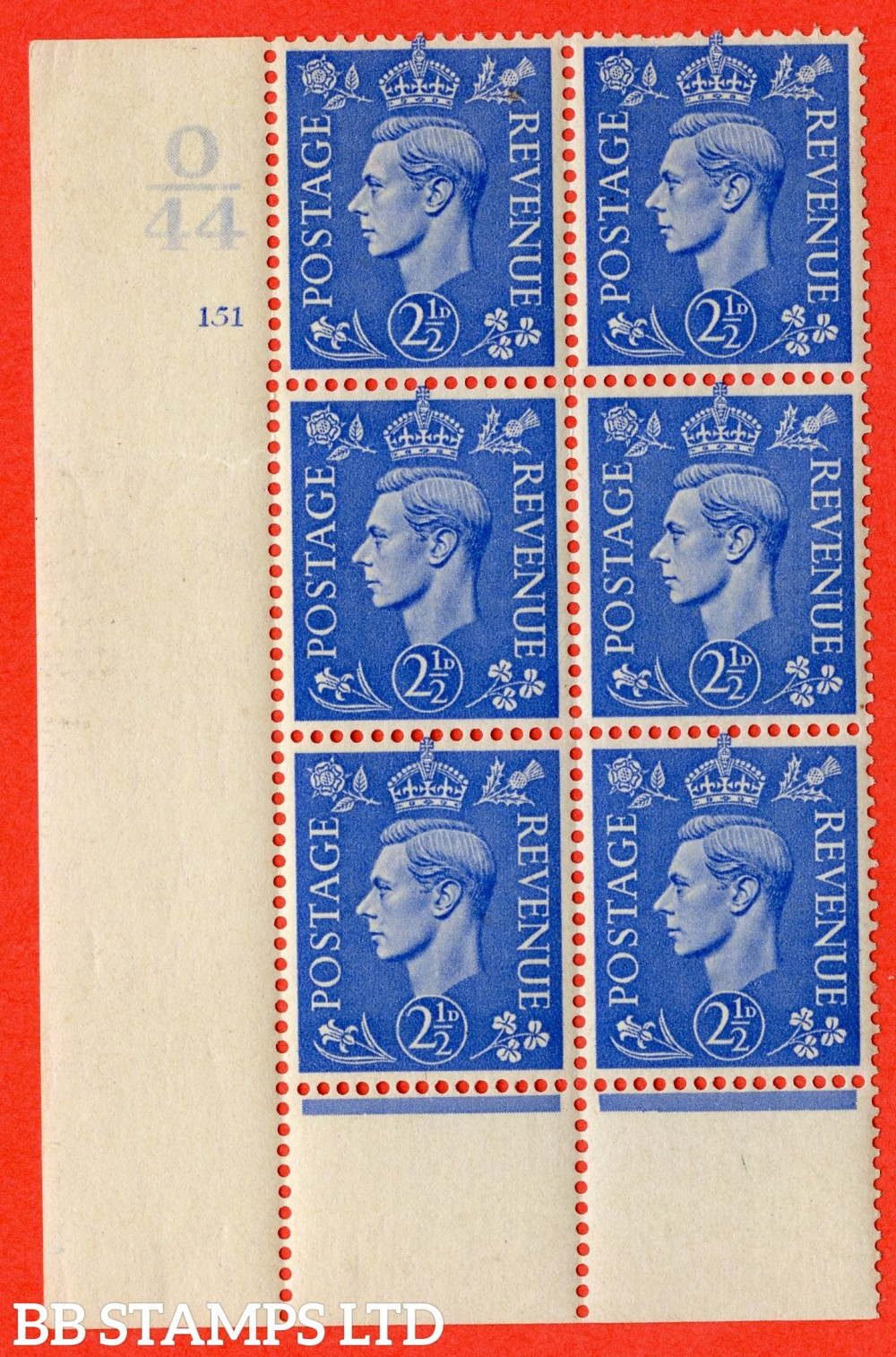 "SG. 489. Q14. 2½d Light ultramarine. A fine lightly mounted mint "" Control O44 cylinder 151 no dot "" control block of 6 with perf type 6 I/P."