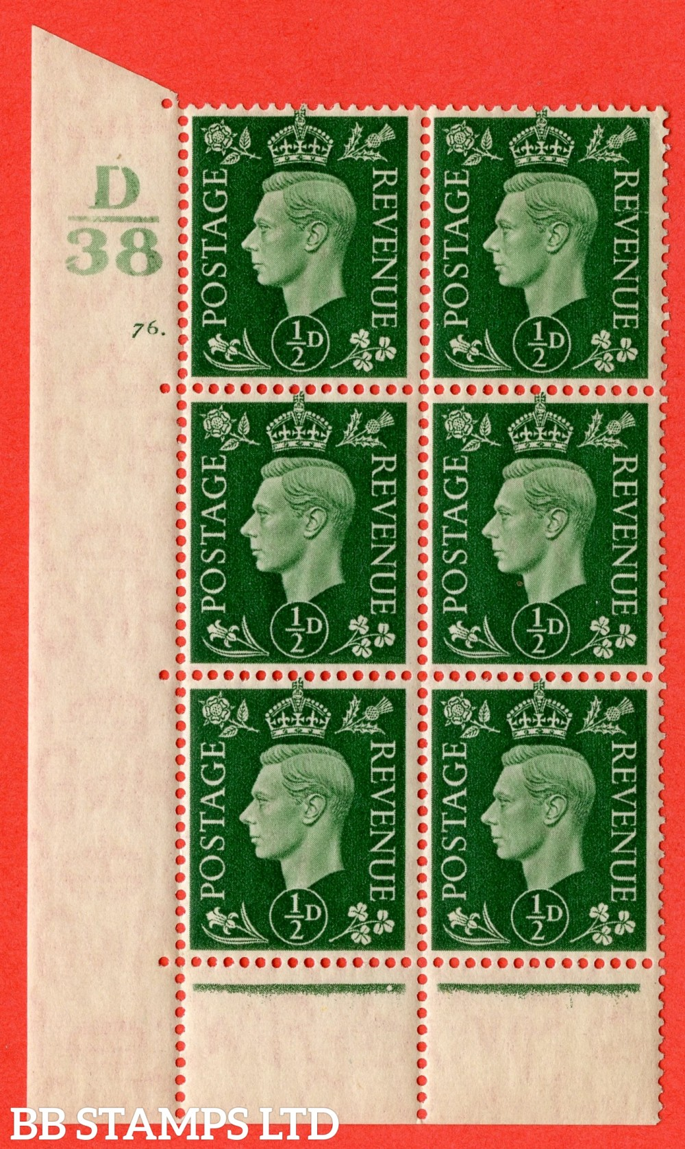 "SG. 462. Q1. ½d Green. A superb UNMOUNTED MINT "" Control D38 cylinder 76 dot "" block of 6 with perf type 6B E/P with marginal rule."