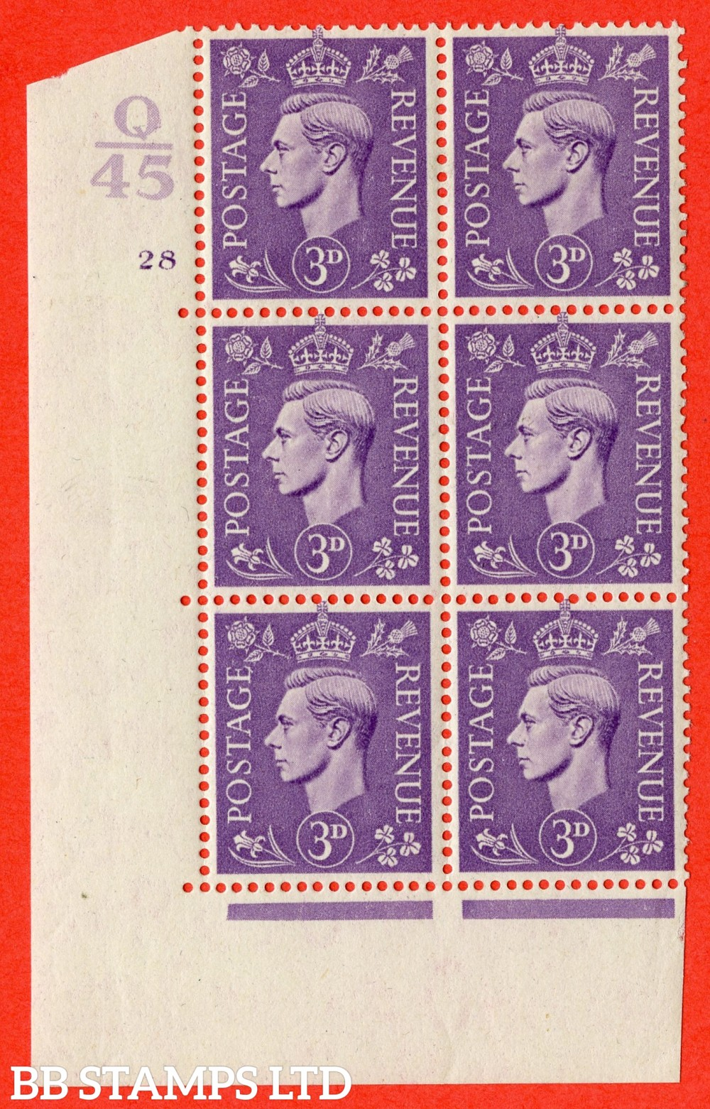 """SG. 490. Q17. 3d pale violet. A supeb UNMOUNTED MINT. """" Control Q45 cylinder 28 no dot """" control block of 6 with perf type 5 E/I."""