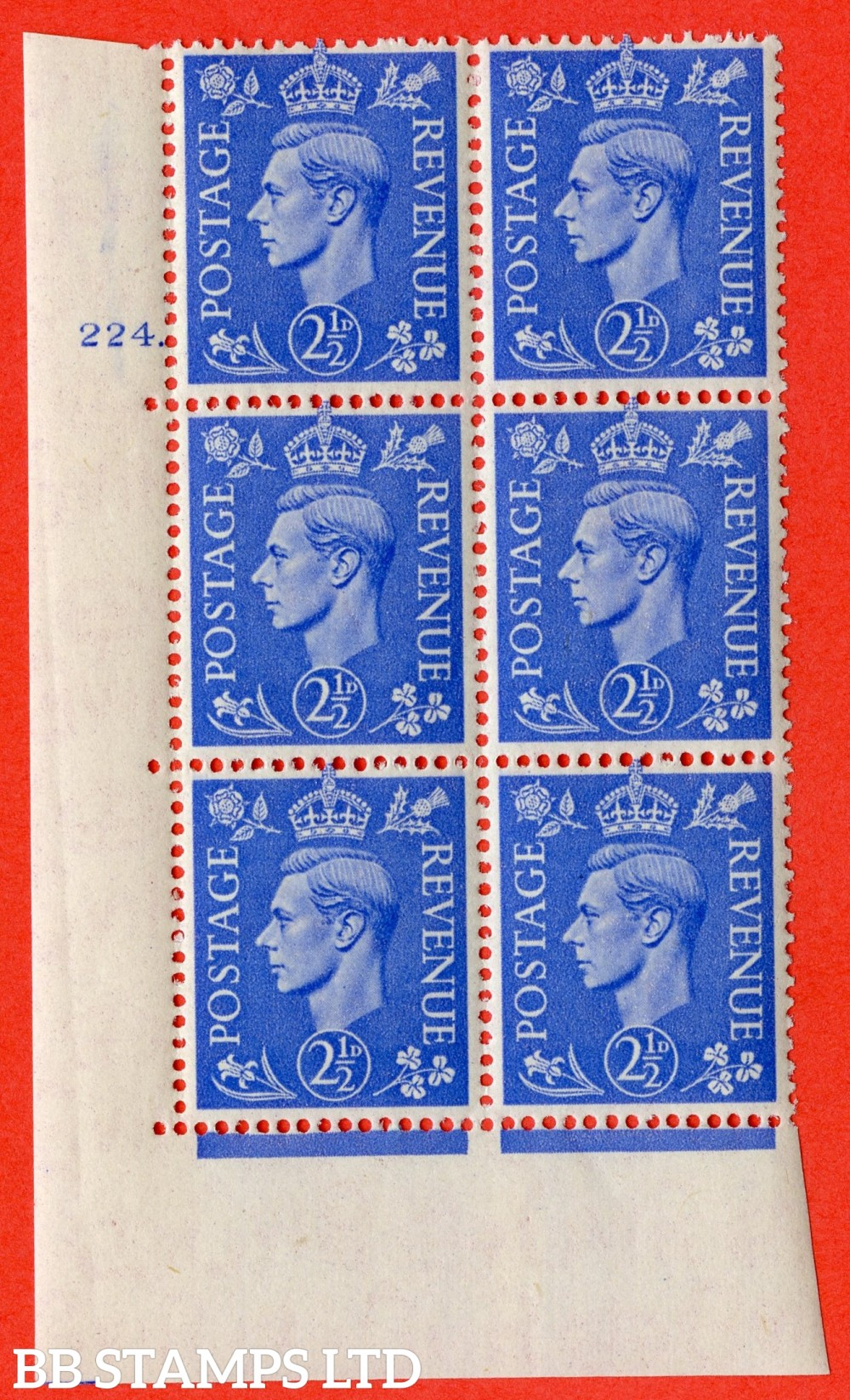 "SG. 489. Q14. 2½d Light ultramarine. A superb UNMOUNTED MINT "" No Control cylinder 224 dot "" control block of 6 with perf type 5 E/I"