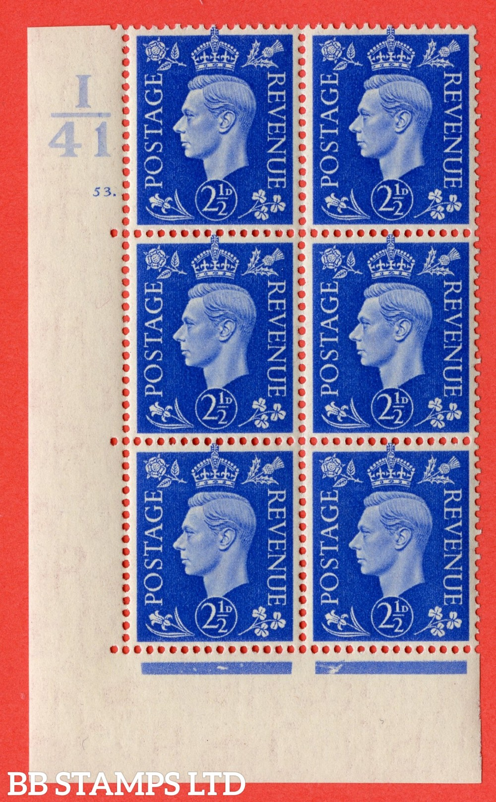 """SG. 466. Q13. 2½d Ultramarine. A superb UNMOUNTED MINT """" Control I41 cylinder 53 dot """" control block of 6 with perf type 5 E/I."""