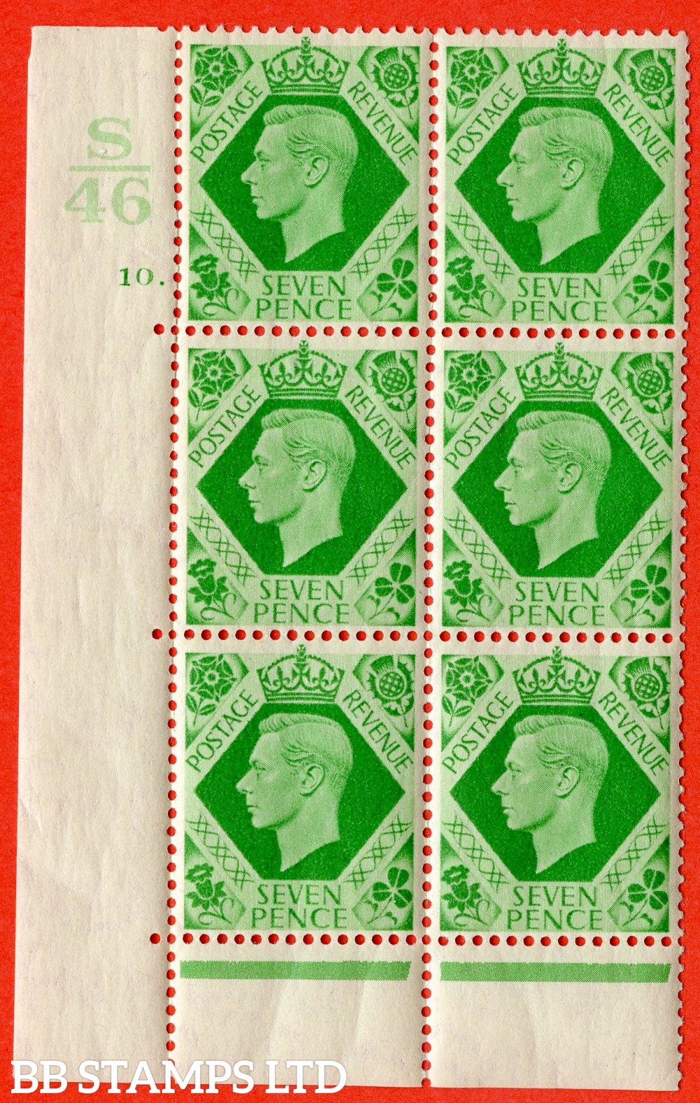 "SG. 471. Q23. 7d Emerald-Green. A very fine lightly mounted mint "" Control S46. Cylinder 10 dot "" control block of 6 with perf type 6B E/P."