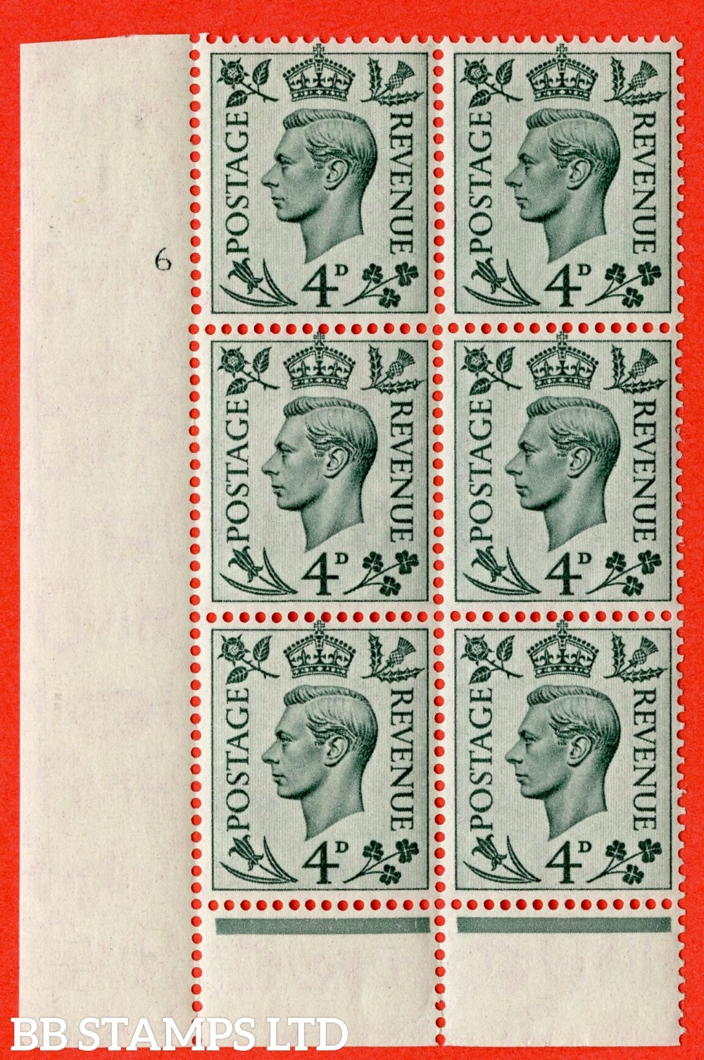 """SG. 468. Q19. 4d Grey-Green. A fine lightly mounted mint. """" No Control. Cylinder 6 no dot """" control block of 6 with perf type 6 I/P."""
