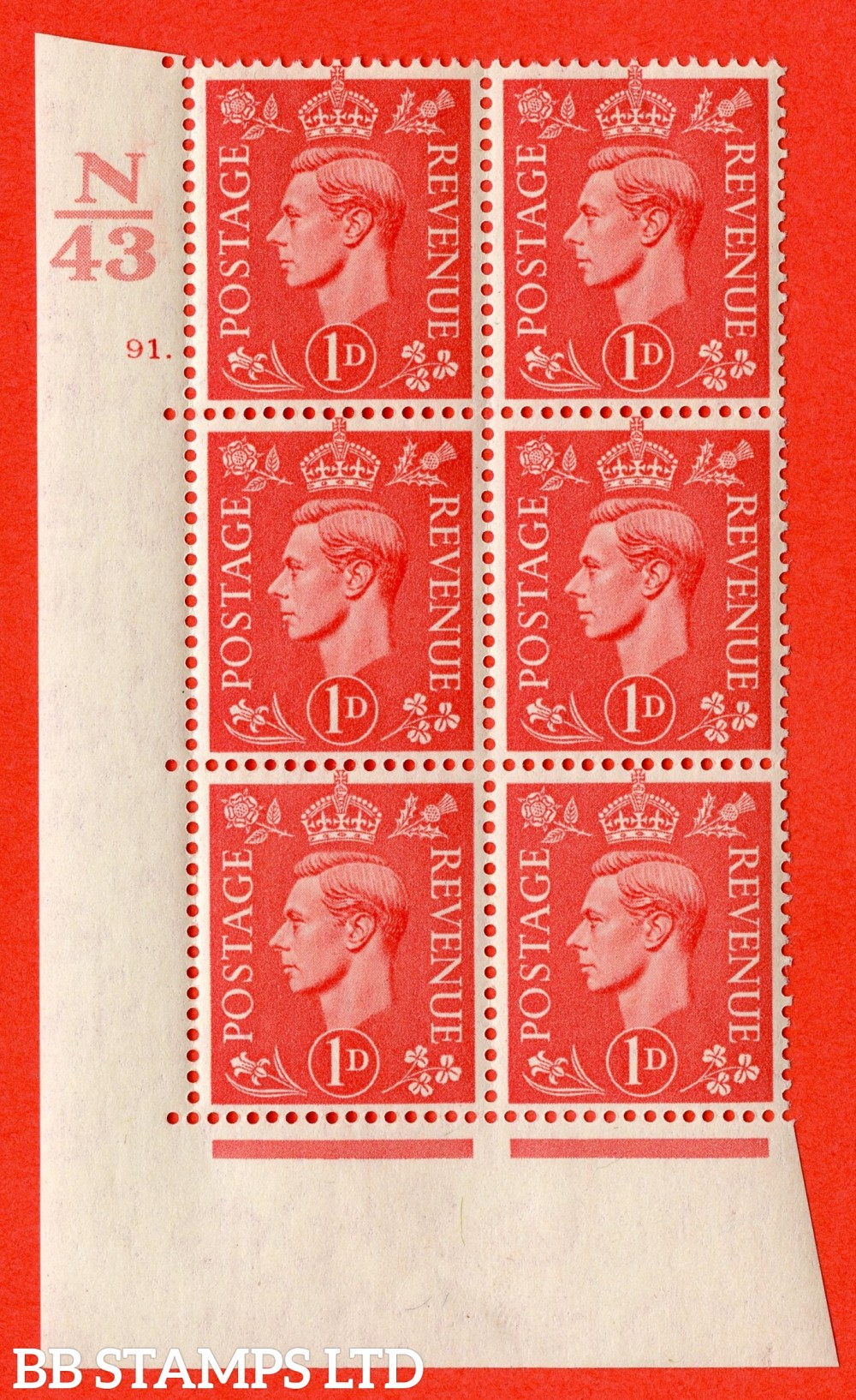 "SG. 486. Q5. 1d Pale scarlet. A fine lightly mounted mint "" Control N43  cylinder 91 dot "" control block of 6 with perf type 5 E/I."