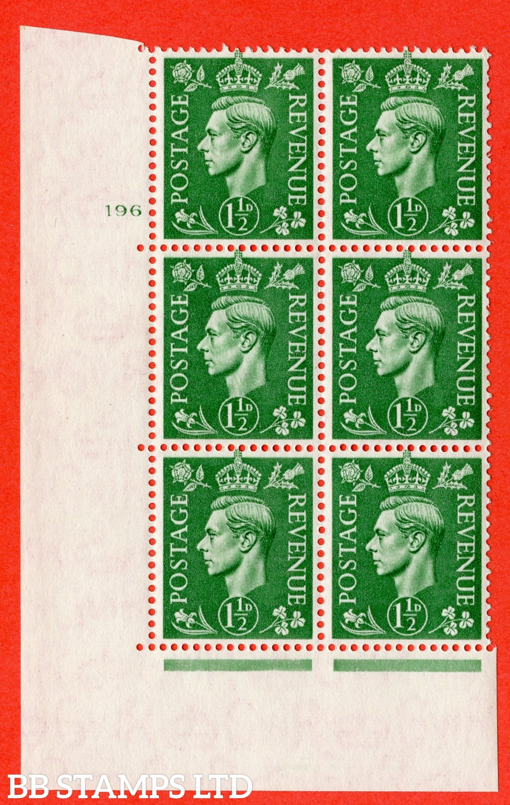 """SG. 505. Q9. 1½d Pale Green.  A fine lightly mounted mint  """" No Control cylinder 196 no dot """" control block of 6 with perf type 5 E/I."""