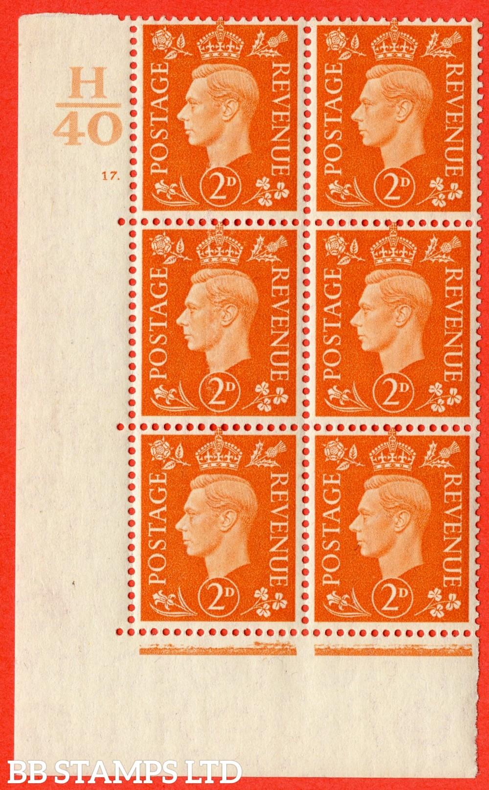 "SG. 465. Q10. 2d Orange. A superb UNMOUNTED MINT "" Control H40 cylinder 17 dot "" control block of 6 with perf type 5 E/I."