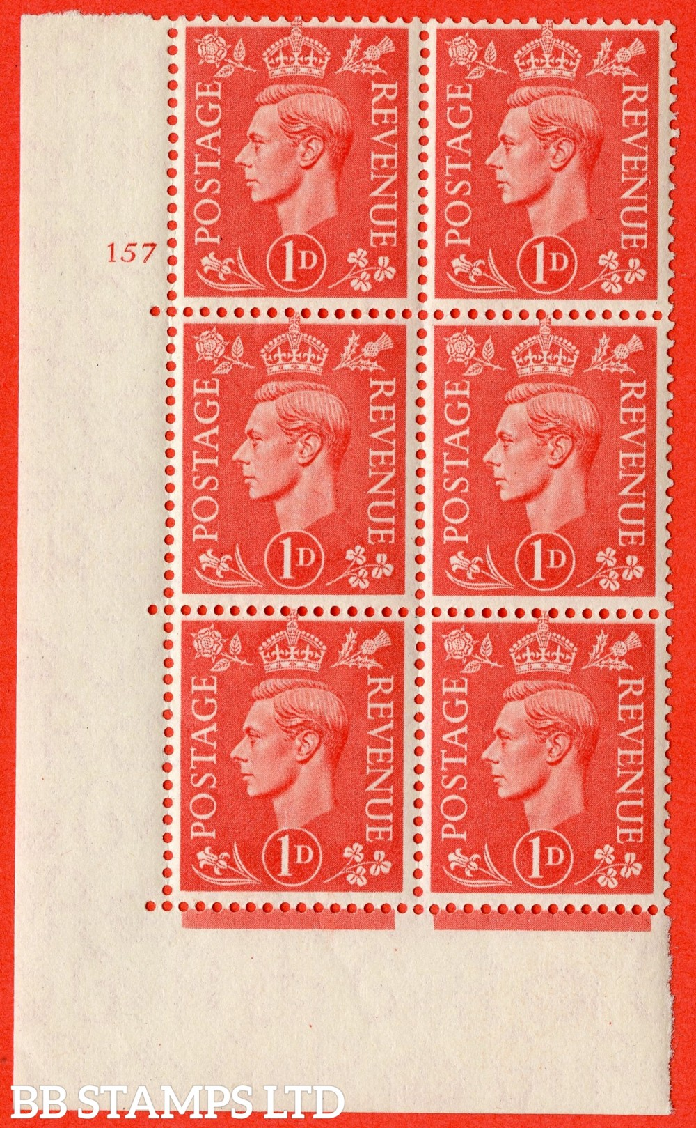 "SG. 486. Q5. 1d Pale scarlet. A superb UNMOUNTED MINT "" No Control   cylinder 157 no dot "" control block of 6 with perf type 5 E/I."