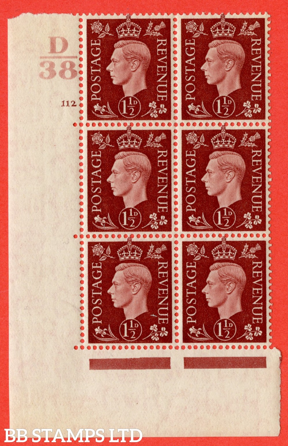 "SG. 464. Q7. 1½d Red-Brown. A superb UNMOUNTED MINT "" Control D38 cylinder 112 dot "" block of 6 with perf type 5 E/I."