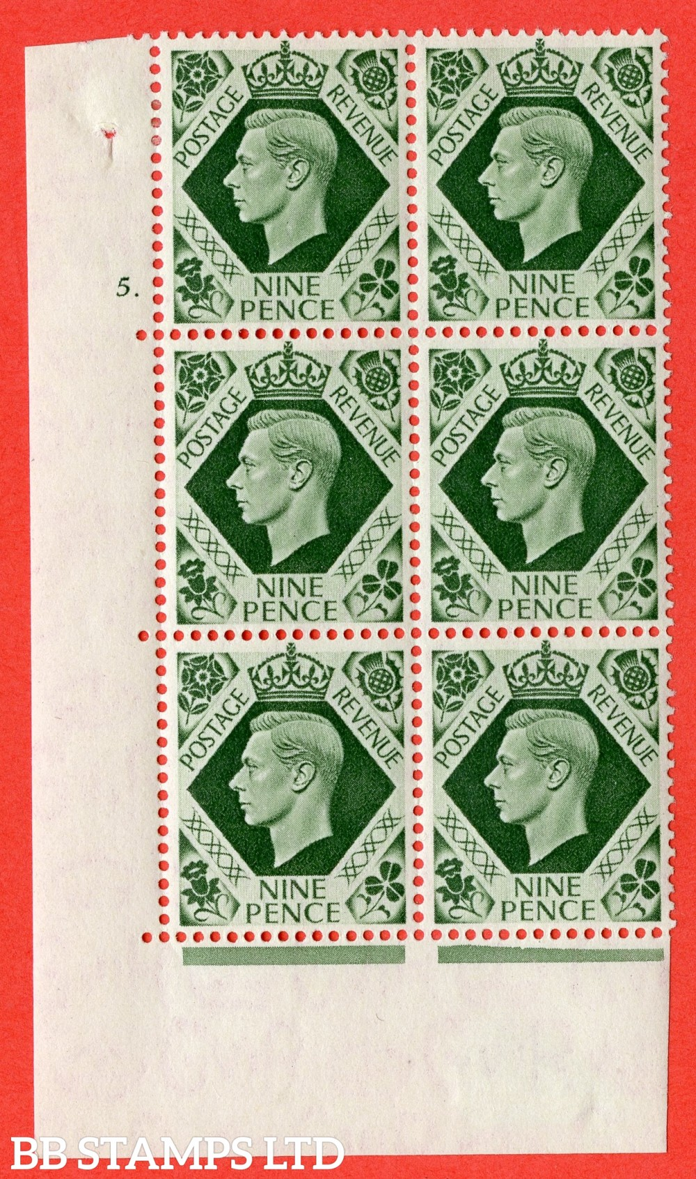 "SG. 473. Q25. b. 9d Olive-Green. A fine mounted mint "" No Control cylinder 5 dot "" control block of 6 with perf type 5 E/I"