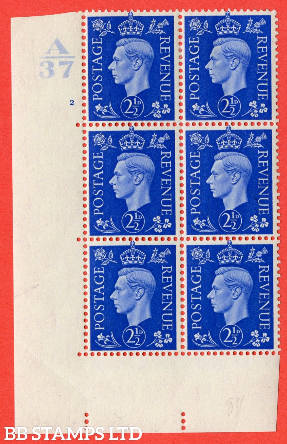 """SG. 466. d. Q13. 2½d Ultramarine.  A fine lightly mounted mint """" Control A37 cylinder 2 no dot """" control block of 6 with perf type 5 E/I. with listed variety """" Scratch on Temple """" R20/1."""