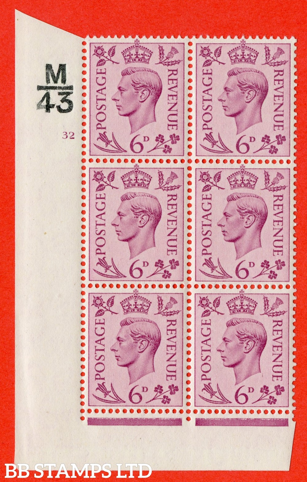 """SG. 470. Q22. 6d Purple. A superb UNMOUNTED MINT """" Control M43 cylinder 32 no dot """" control block of 6 with perf type 2 E/I."""