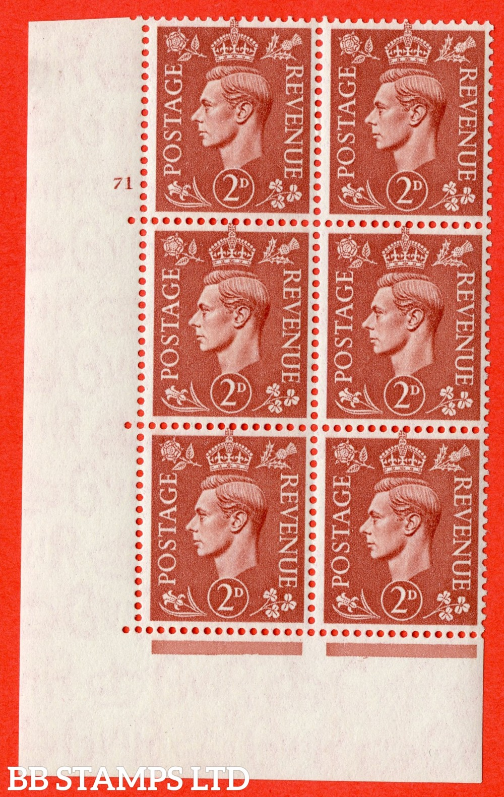 "SG. 506. Q12. 2d Pale Red-Brown. A superb UNMOUNTED MINT "" No Control cylinder 71 no dot "" control block of 6 with perf type 5 E/I."