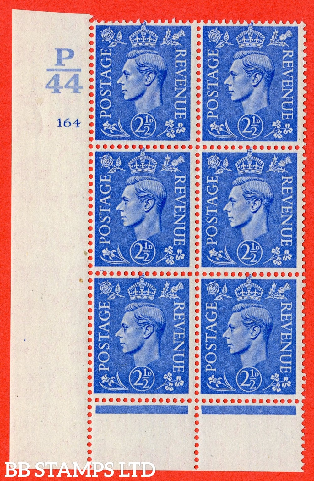 "SG. 489. Q14. 2½d Light ultramarine. A suberb UNMOUNTED MINT "" Control  P44 cylinder 164 no dot "" control block of 6 with perf type 6 I/P."
