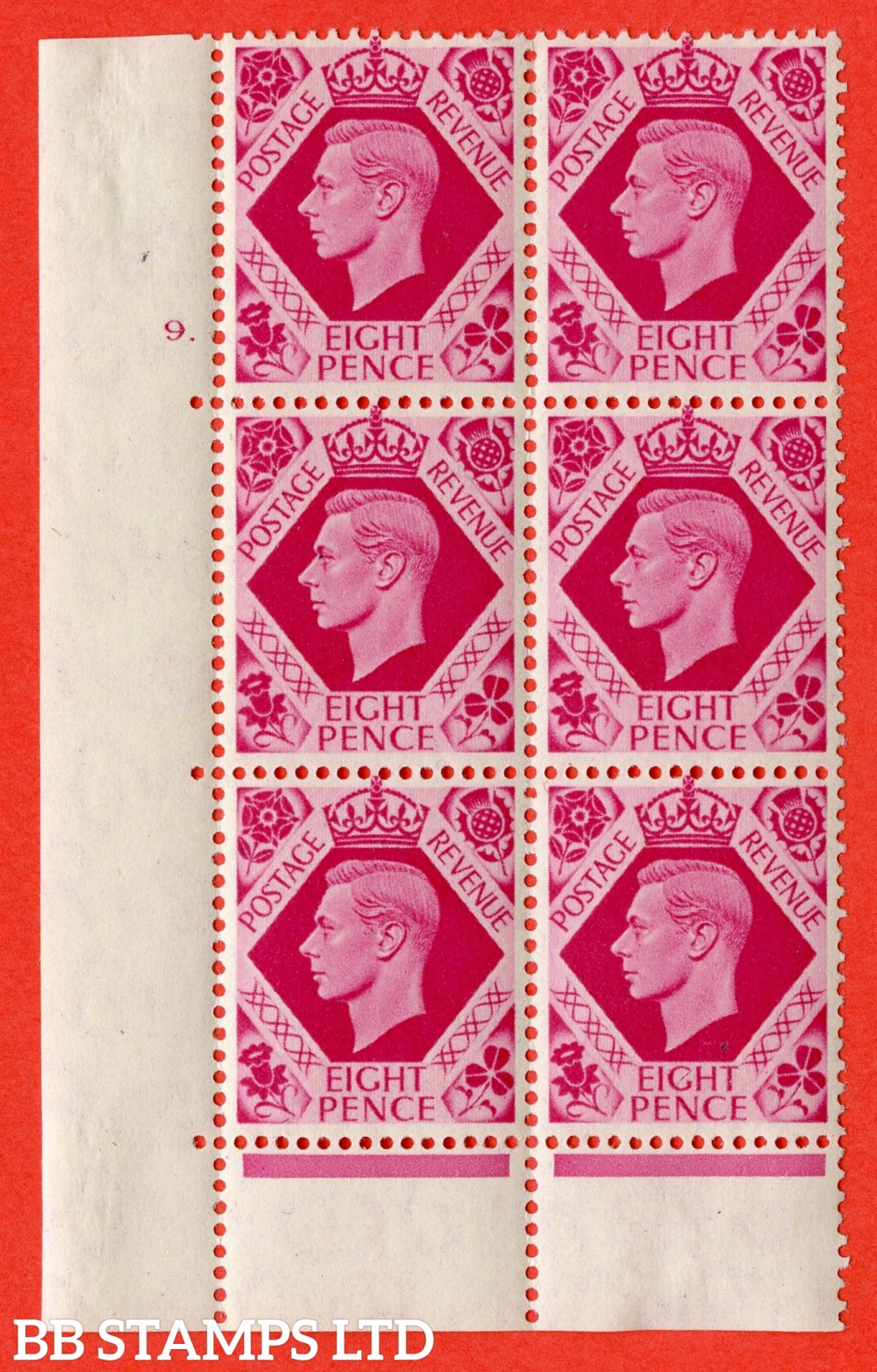"SG. 472. Q24. 8d Carmine. A fine lightly mounted mint "" No Control. Cylinder 9 dot "" control block of 6 with perf type 6B E/P"