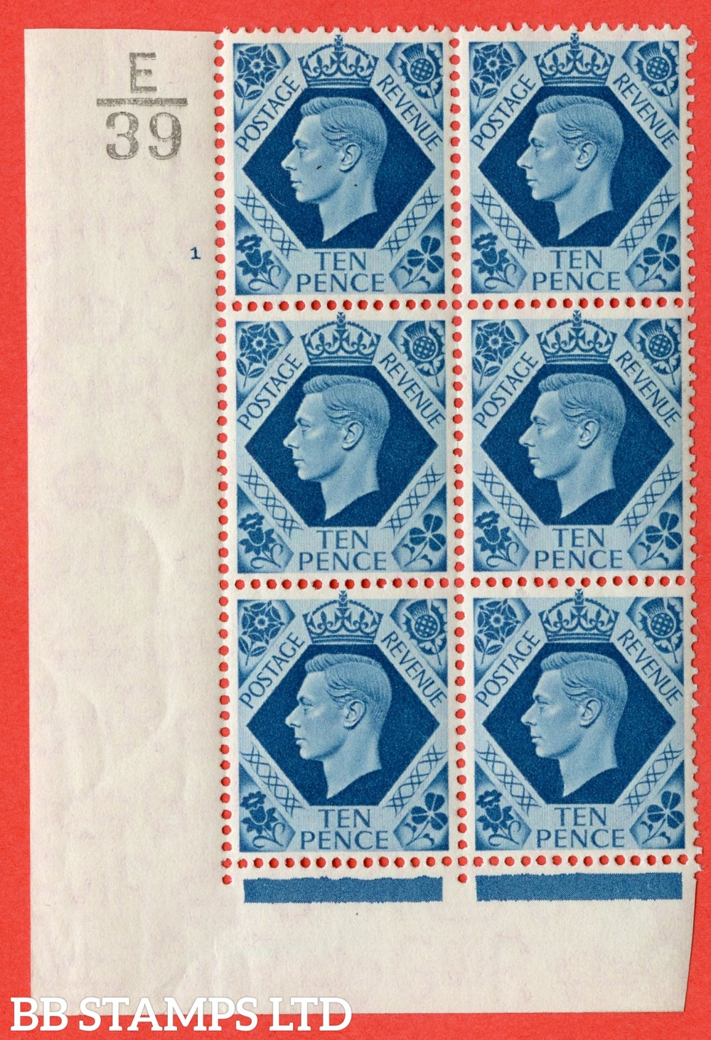 """SG. 474. Q26. 10d Turquoise-Blue. Asuperb UNMOUNTED MINT"""" Control E39 cylinder 1 no dot """" control block of 6 with perf type 2 I/E."""