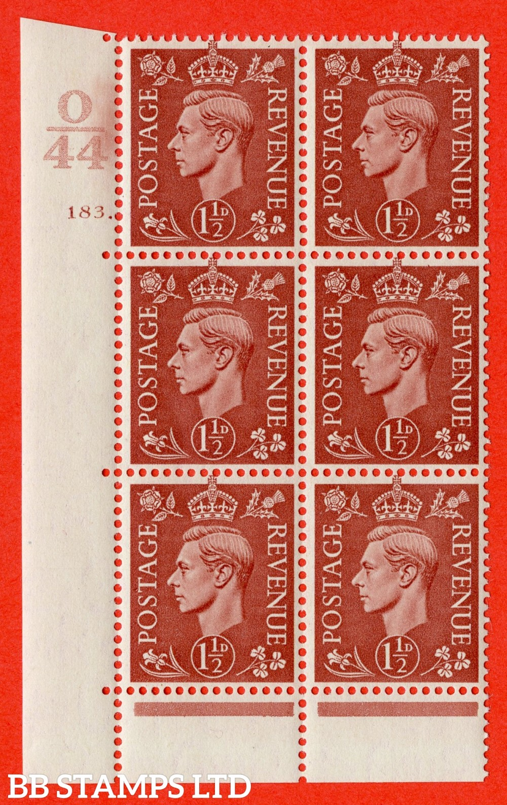 "SG. 487. Q8. 1½d Pale Red-Brown. A superb UNMOUNTED MINT "" Control O44 cylinder 183 dot "" control block of 6 with perf type 6B E/P."