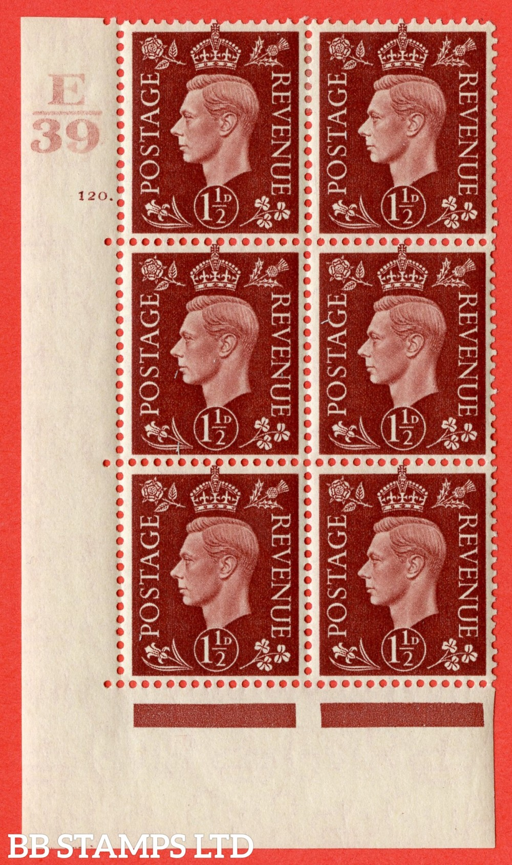 """SG. 464. Q7. 1½d Red-Brown. A fine lightly mounted mint """" Control E39 cylinder 120 dot """" block of 6 with perf type 5 E/I."""