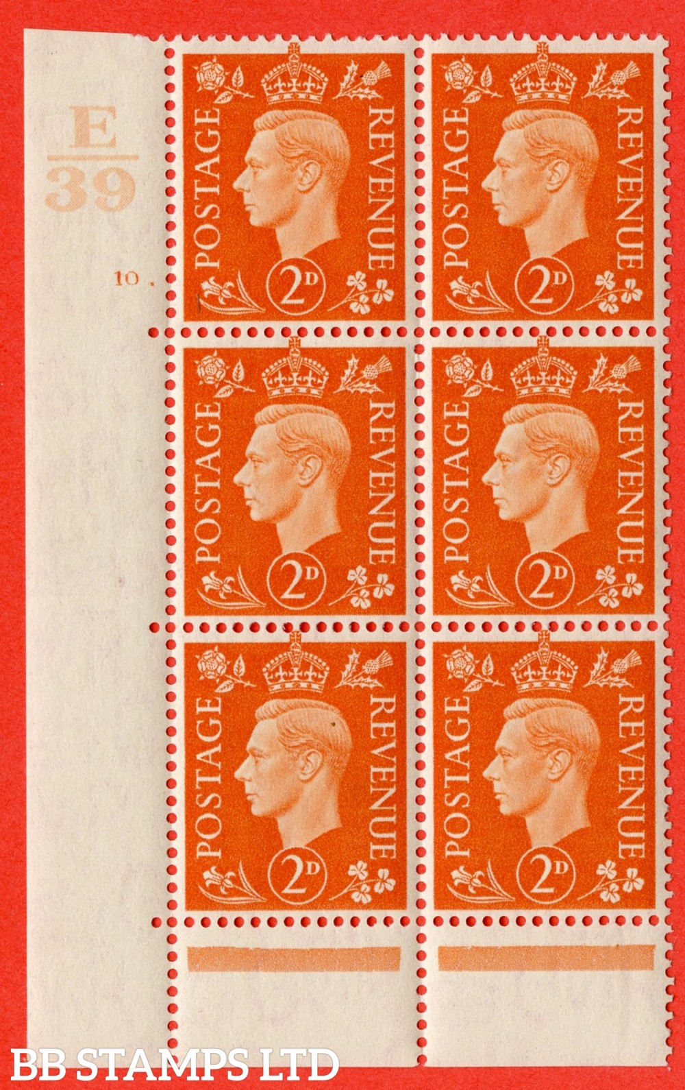 "SG. 465. Q10. 2d Orange. A superb UNMOUNTED MINT "" Control E39 cylinder 10 dot "" control block of 6 with perf type 6B E/P."