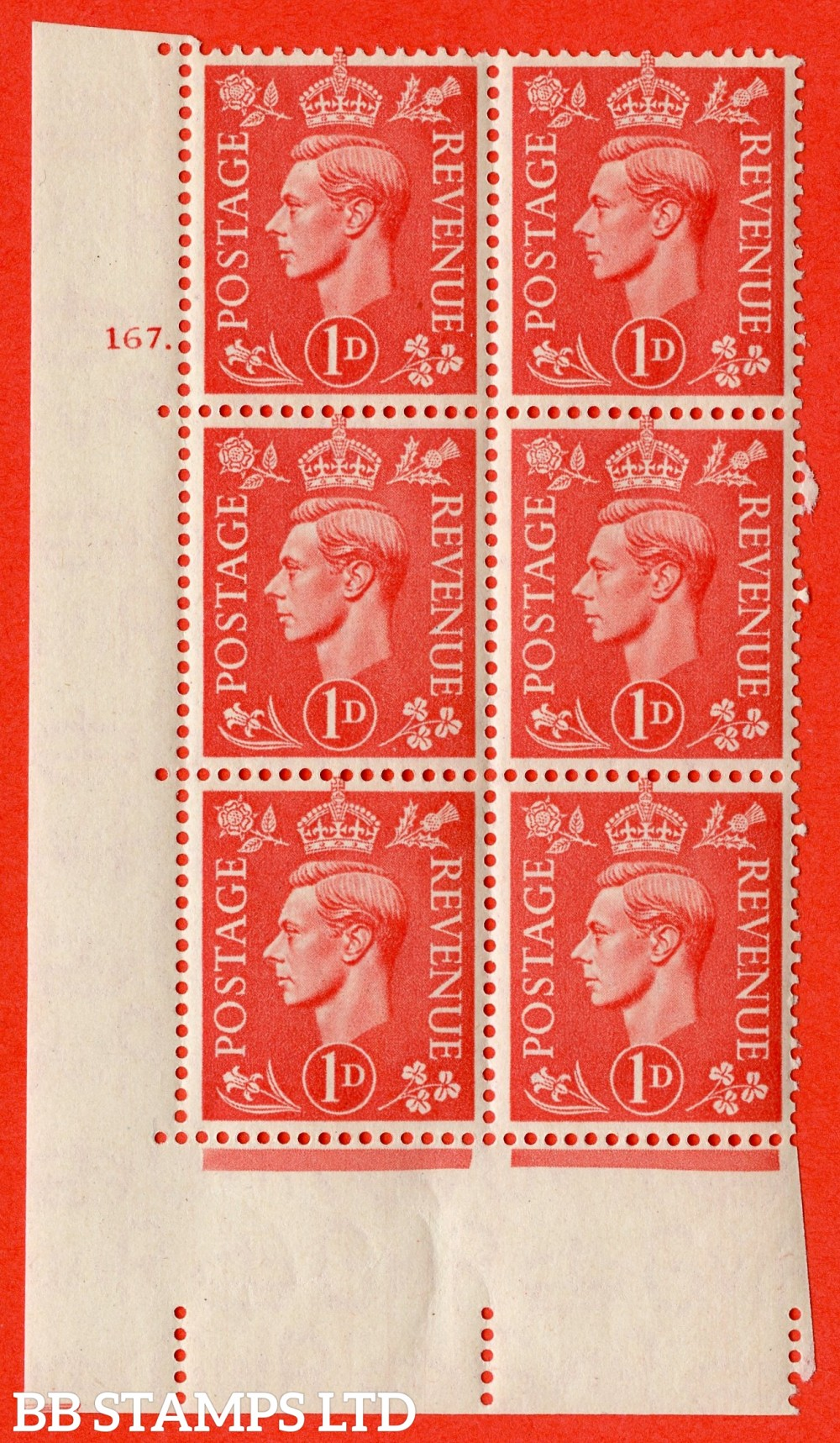 "SG. 486. Q5. 1d Pale scarlet. A superb UNMOUNTED MINT "" No Control   cylinder 167 dot "" control block of 6 with perf type 5 E/I."
