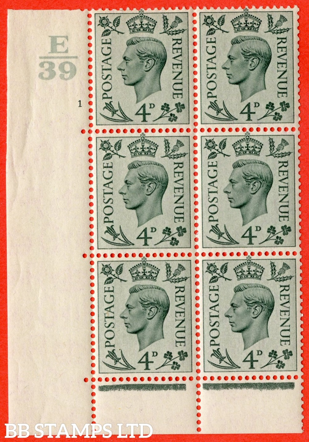 """SG. 468. Q19. 4d Grey-Green. A Superb UNMOUNTED MINT """" Control E39. Cylinder 1 no dot """" control block of 6 with perf type 6B E/P."""