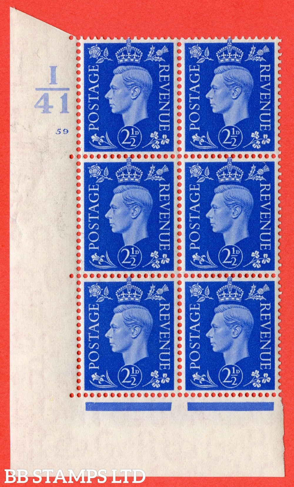 "SG. 466. Q13. 2½d Ultramarine. A superb UNMOUNTED MINT "" Control I41 cylinder 59 no dot "" control block of 6 with perf type 5 E/I."