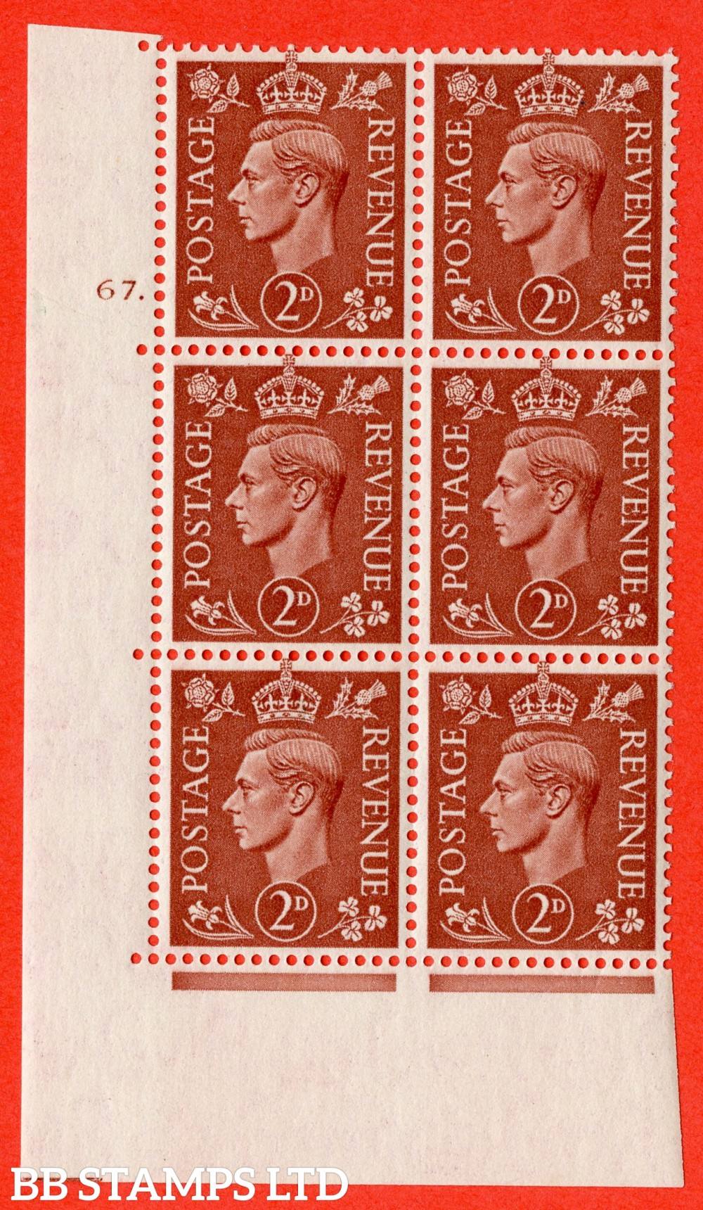 "SG. 506. Q12. 2d Pale Red-Brown. A fine lightly mounted mint "" No Control cylinder 67 dot "" control block of 6 with perf type 5 E/I."