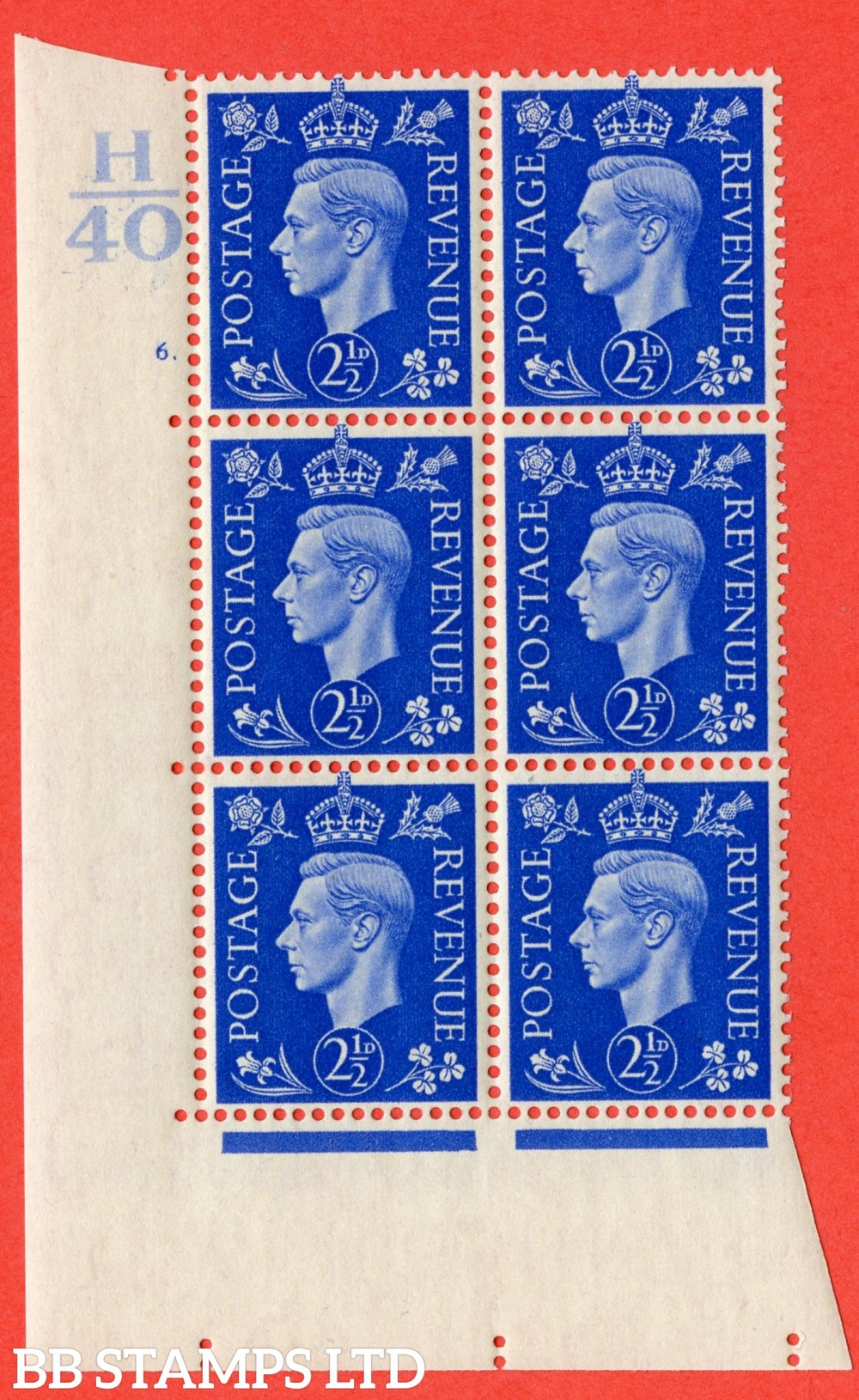 "SG. 466. Q13. 2½d Ultramarine. A superb UNMOUNTED MINT "" Control H40 cylinder 6 dot "" control block of 6 with perf type 5 E/I."
