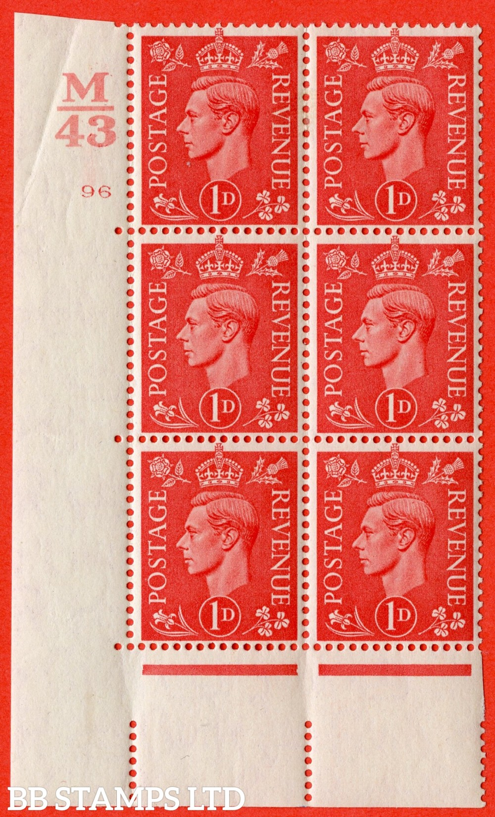 "SG. 486. Q5. 1d Pale scarlet. A fine lightly mounted mint "" Control M43  cylinder 96 no dot "" control block of 6 with perf type 5 E/I."