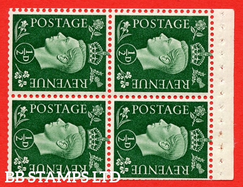 """SG. 462 ab. QB2. ½d green. SIDEWAYS WATERMARK LEFT. A superb MOUNTED MINT complete booklet pane of Four. Perf type """" I """". Trimmed Perfs."""