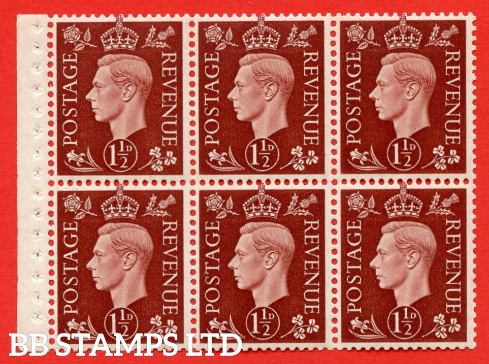 QB21 Perf Type I 1½d Red-Brown x 6 Pane, UNMOUNTED MINT Watermark Upright. ( SG. 464c ) Perf type I. Good Perfs.