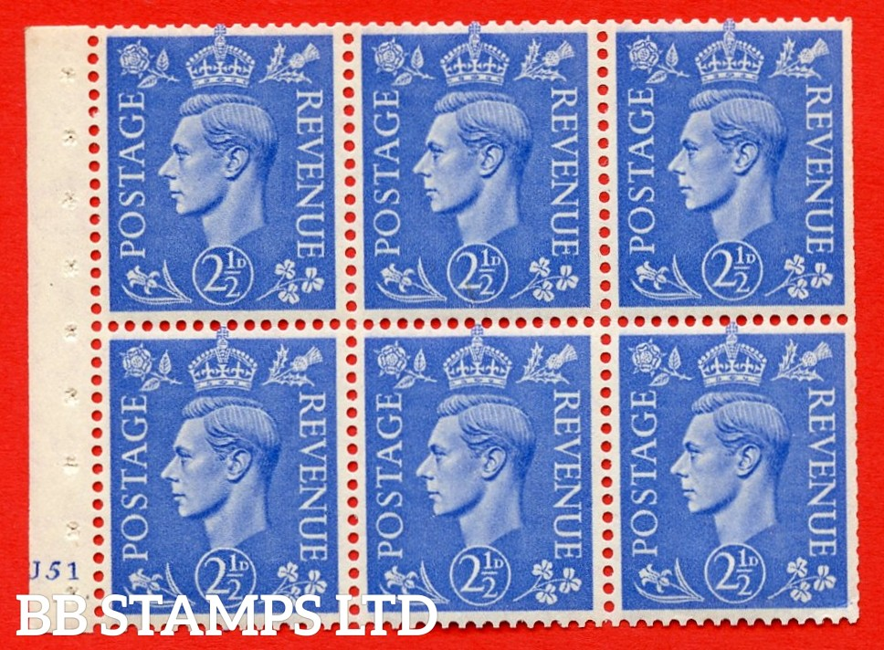 """SG. 489f. QB33. 2½d blue. A fine UNMOUNTED MINT complete Cylinder pane of 6 J51 No dot. Perf type """"B3(I)"""". Trimmed Perfs."""