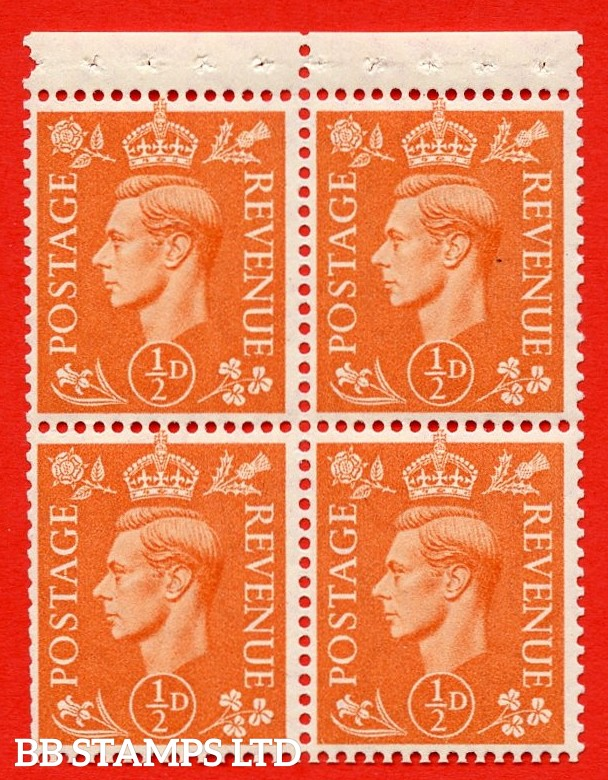 """SG. 503e. QB8. ½d orange. A fine MOUNTED MINT complete booklet pane of 4. Perf type """" P """". Trimmed Perfs."""