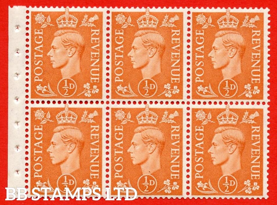 "SG. 503d. QB7. ½d orange. A fine UNMOUNTED MINT complete booklet pane of 6. Perf type "" Iet "". Good Perfs."