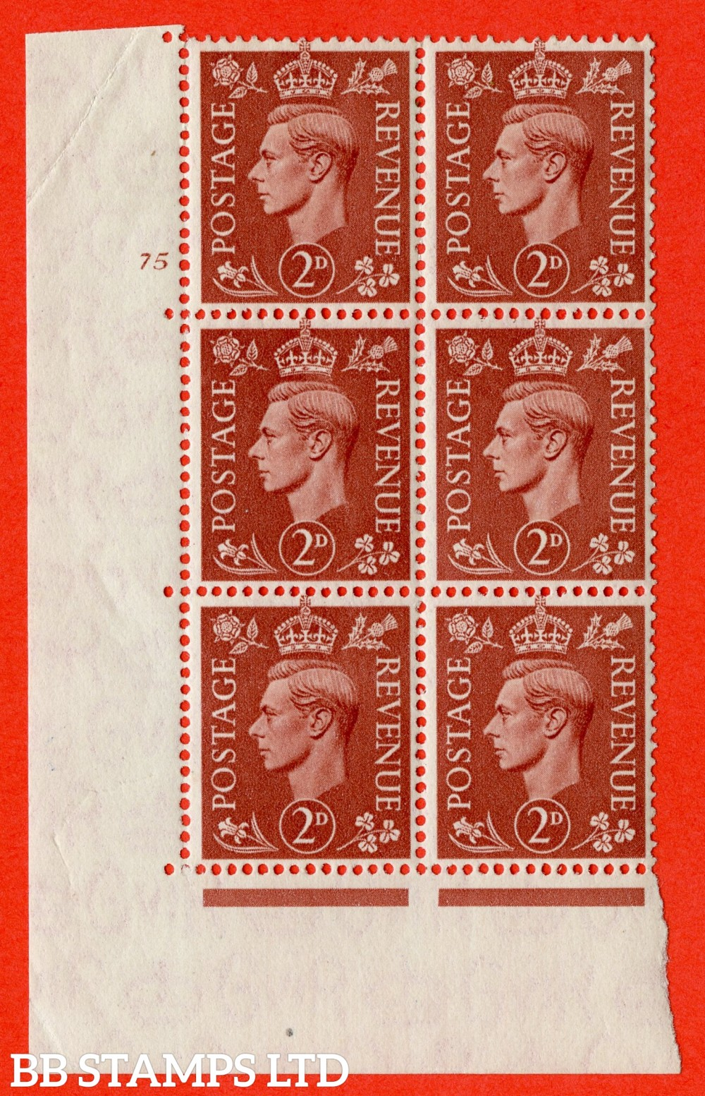 "SG. 506. Q12 h. 2d Pale Red-Brown. A superb UNMOUNTED MINT "" No Control cylinder 75 no dot "" control block of 6 with perf type 5 E/I with listed variety "" missing jewel in crown "" Row 19/1."