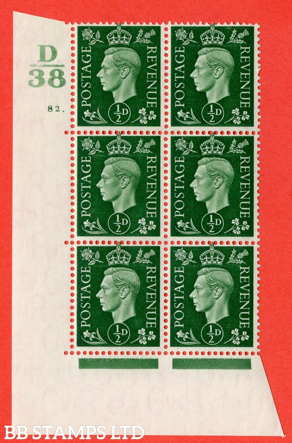 "SG. 462. Q1. ½d Green. A fine lightly mounted mint "" Control D38 cylinder 82 dot "" block of 6 with perf type 5 E/I with marginal rule."
