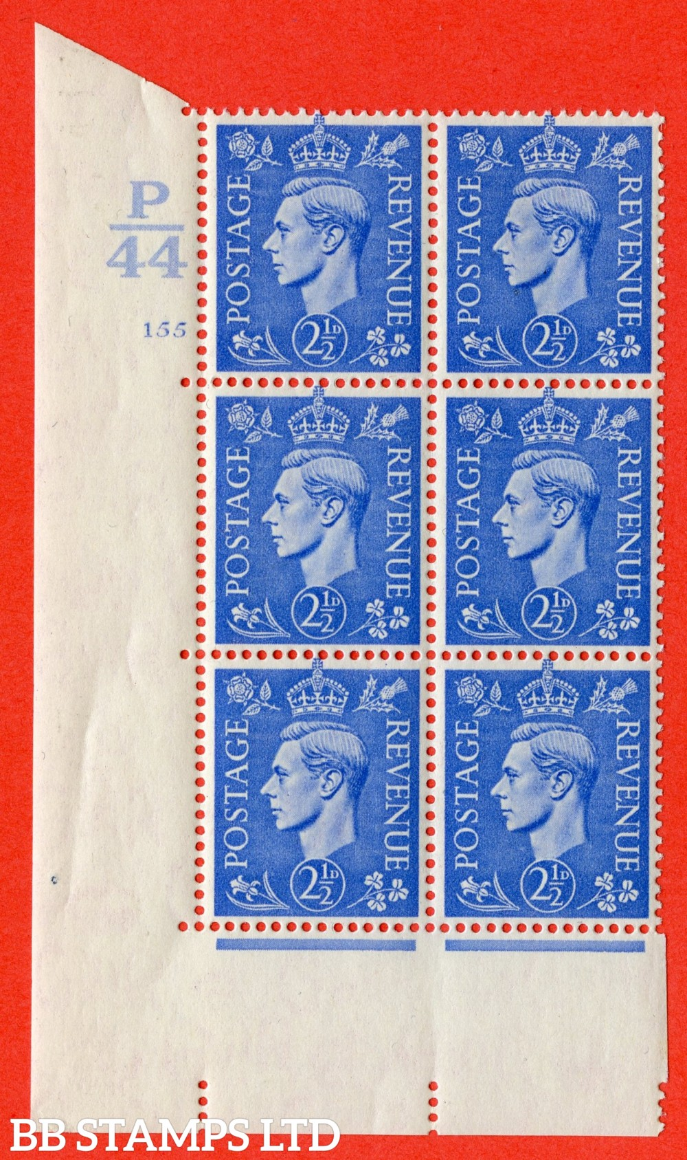 "SG. 489. Q14. 2½d Light ultramarine. A superb UNMOUNTED MINT "" Control P44 cylinder 146 no dot "" control block of 6 with perf type 5 E/I."