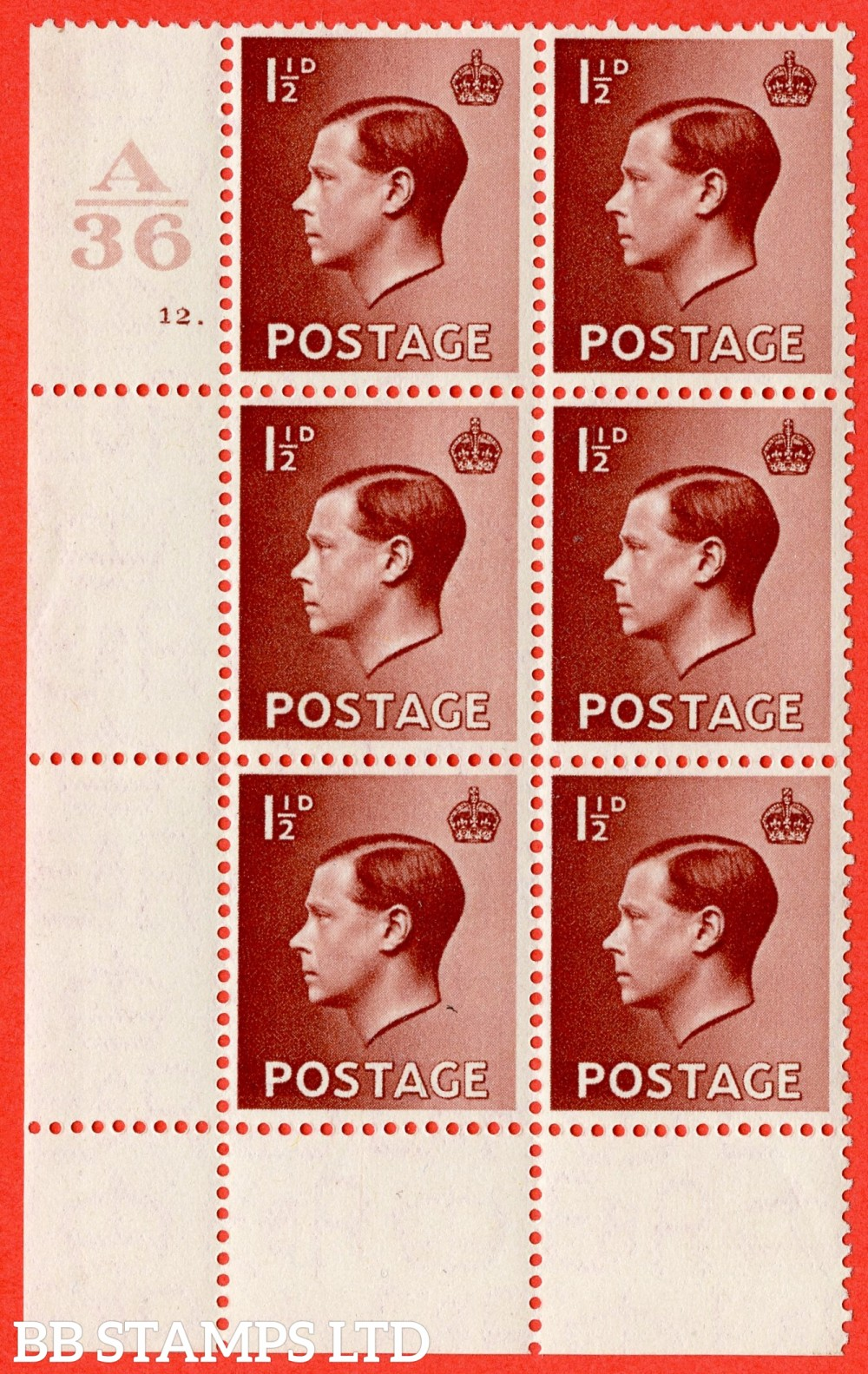 """SG. 459. P3. 1½d Red-brown. A superb UNMOUNTED MINT. """" Control  A36 cylinder 12 dot """"  control block of 6 with perf type 2A P/P."""
