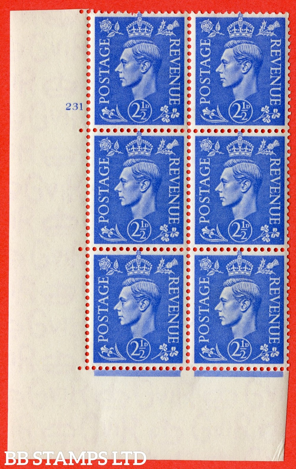 "SG. 489. Q14. 2½d Light ultramarine. A superb UNMOUNTED MINT "" No Control cylinder 231 no dot "" control block of 6 with perf type 5 E/I"