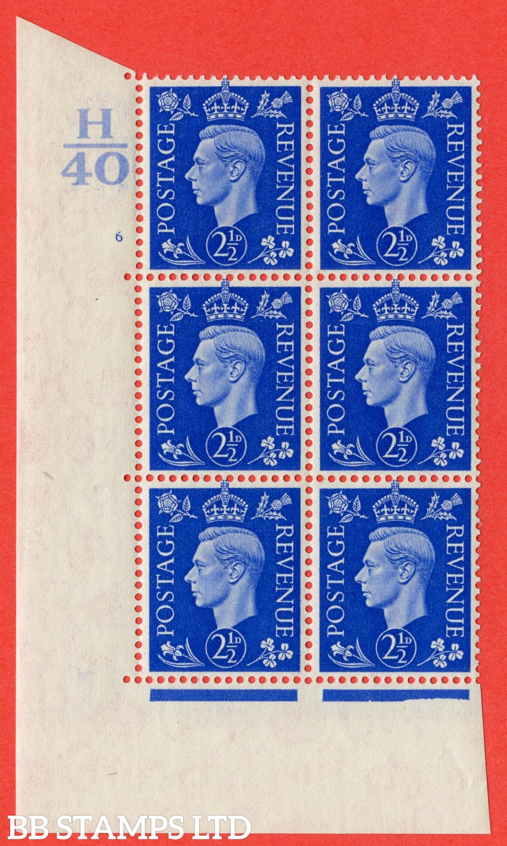 """SG. 466. d. Q13. 2½d Ultramarine.  A superb UNMOUNTED MINT """" Control H40 cylinder 6 no dot """" control block of 6 with perf type 5 E/I."""