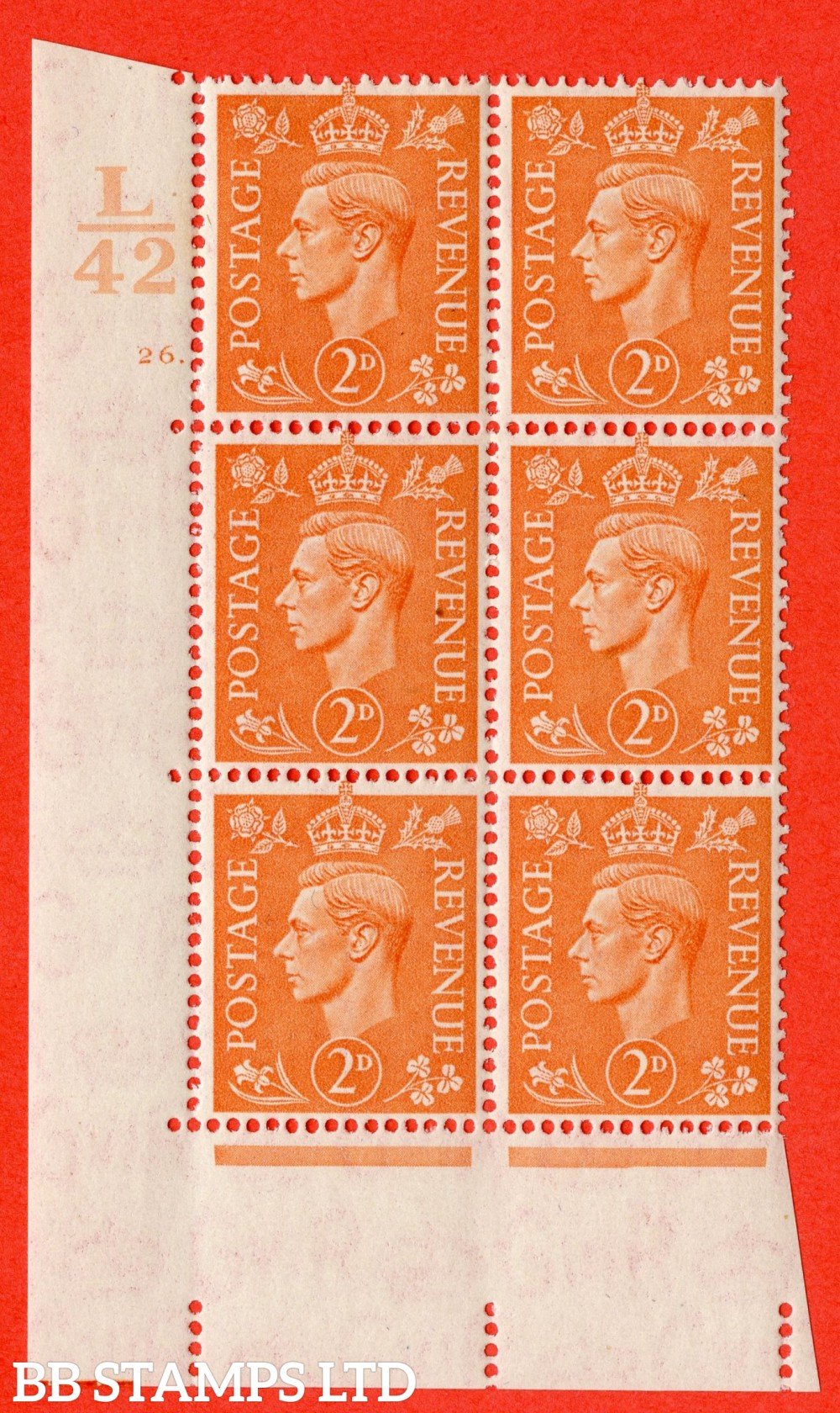 "SG. 488. Q11. 2d Pale Orange. A fine lightly mounted mint "" Control L42 cylinder 26 dot "" control block of 6 with perf type 5 E/I."
