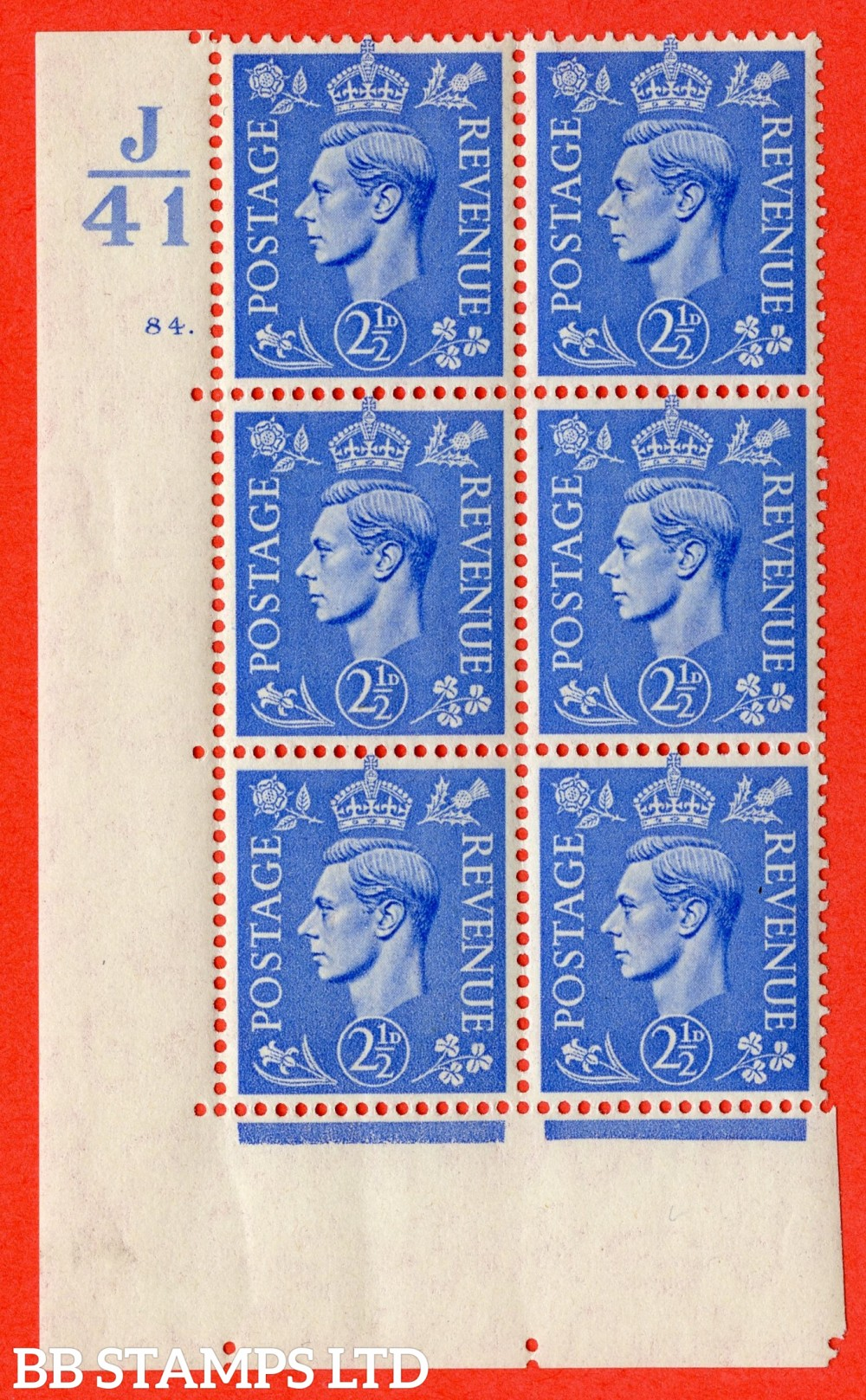 "SG. 489. Q14. 2½d Light ultramarine. A fine lightly mounted mint "" Control J41 cylinder 84 dot "" control block of 6 with perf type 5 E/I."
