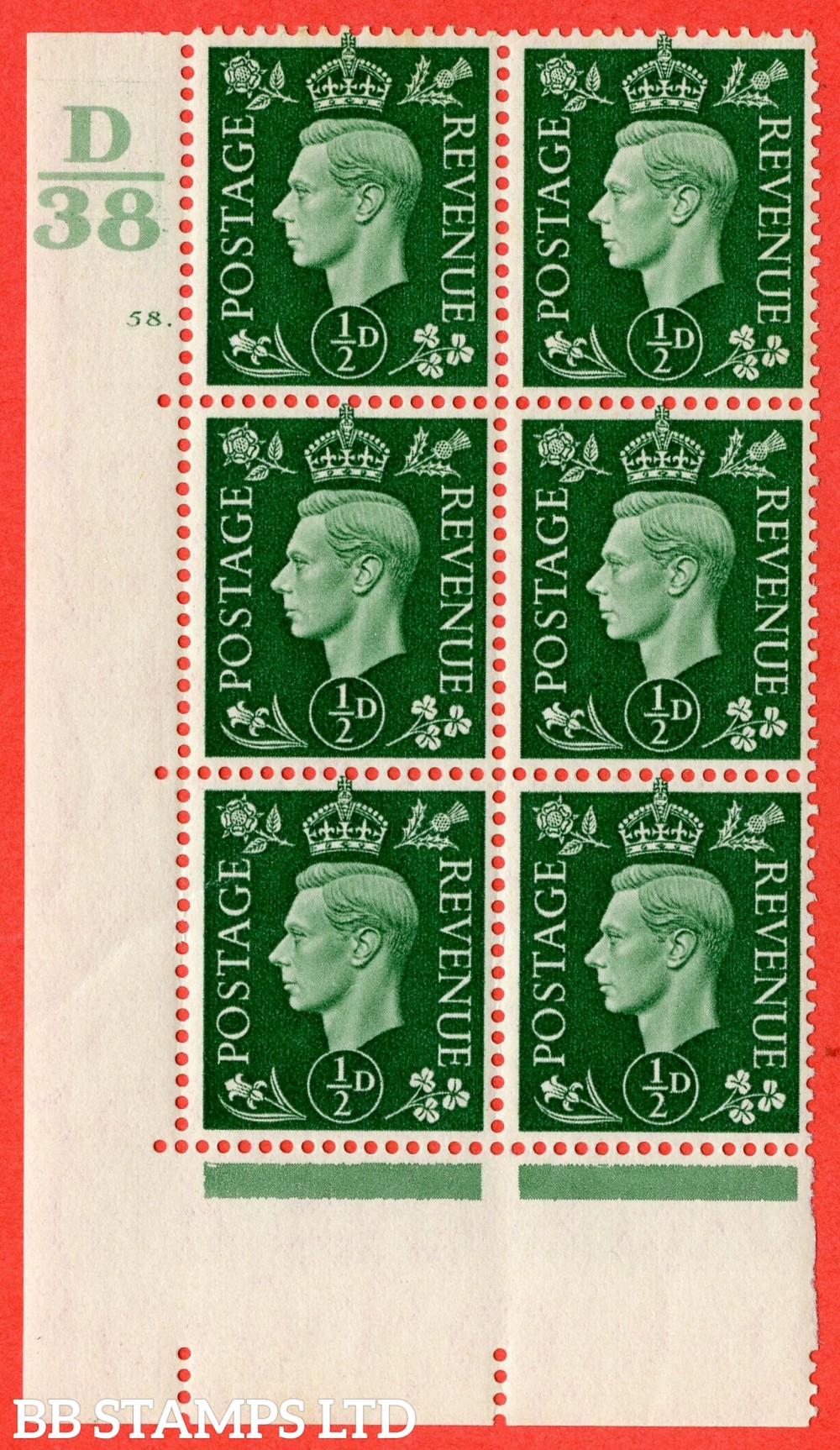 "SG. 462. Q1. ½d Green. A superb UNMOUNTED MINT "" Control D38 cylinder 58 dot "" block of 6 with perf type 5 E/I."